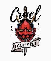 lema de monstruo cruel con ilustración de máscara malvada roja japonesa vector