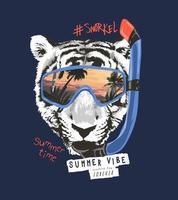 lema de tipografía con cara de tigre blanco y negro en la ilustración de máscara de snorkel vector
