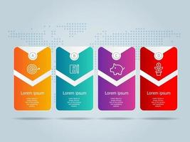 horizontal business infographics template disign with icons 4 steps or option set vector