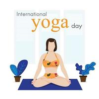 stay at home, woman meditating, concept for yoga vector