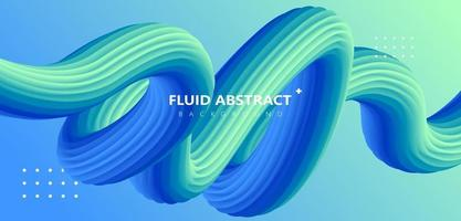 Fashion green blue gradient curve fluid abstract background vector