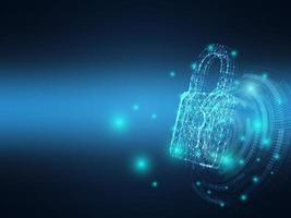 Cerradura de llave de tecnología de red de seguridad cibernética con fondo de baja poli vector