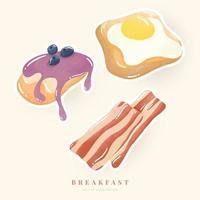 Watercolor illustration breakfast set. Bacon, Bread, Fried egg, Pancake. Digital paint. Vector illustration.