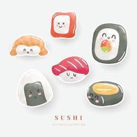 Watercolor sushi sticker set. Digital paint. Vector illustration.