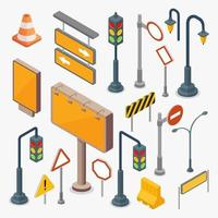 Road and street signs set vector illustration