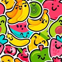 Happy fruits seamless pattern color wallpaper vector