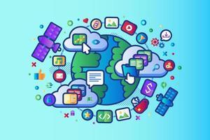 Global data social network 5G internet vector