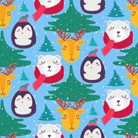 Christmas funny winter animals seamless pattern vector