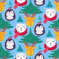 navidad, divertido, invierno, animales, seamless, patrón, vector