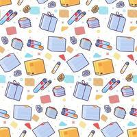 Waste paper seamless pattern cartoon flat vector