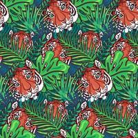 Tiger head seamless pattern vector wallpaper