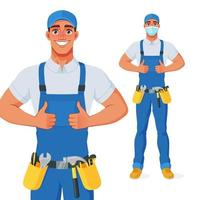 Handyman in bib overall and tool belt showing thumbs up. Vector cartoon character.