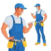 Handyman in overalls and tool belt checking his phone. Vector illustration.