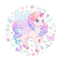 Cute baby unicorn with fairy wings surrounded with flowers and butterflies. Vector illustration.