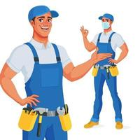 Handyman in bib overalls and tool belt presenting and showing OK vector illustration
