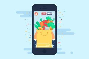 Live streamming about healthy food concept illustration vector