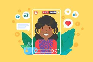 Afro american girl streamer flat color vector character