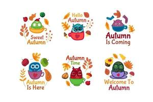 Hello autumn set of stickers with owls in cup vector