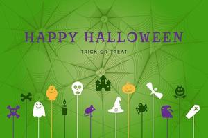 Happy halloween poster with autumn holiday symbols vector
