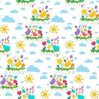 Spring color cartoon wallpaper seamless pattern vector