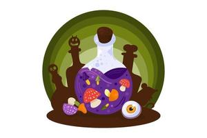 Halloween card with potion bottle, witchcraft sign vector