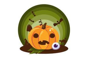Scary pumpkin halloween symbol icon on white vector