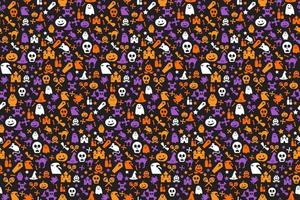 Seamless halloween pattern with skull, bat, ghosts vector