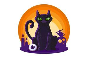 Black cat for Halloween card or poster design vector