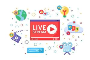 Live stream producing tools concept icon vector
