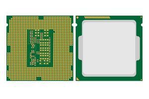 Ilustración simple del icono de chip de cpu de computadora electrónica digital vector