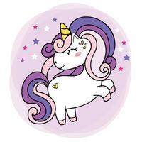 Lindo bebé púrpura unicornio cuerno mágico simple doodle contorno ilustración vectorial vector