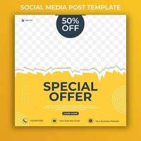 Editable minimal square banner template. social media post and web internet ads with photo area for promotion. vector