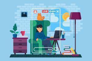 Girl freelancer in home vector character concept illustration
