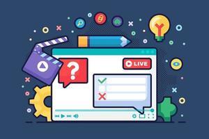 Live stream discussion concept semi flat illustration
