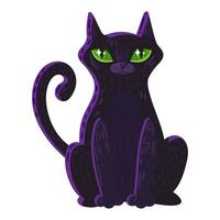 Magic cat with big green eyes color icon vector