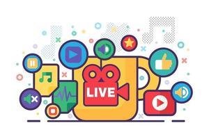 Live stream production concept illustration vector