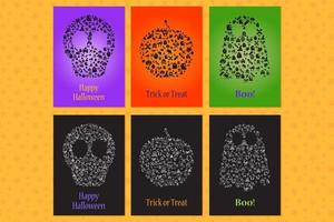Set of greeting cards and invitation for halloween vector