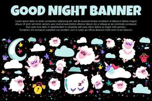 Good night banner with flat sheep vector