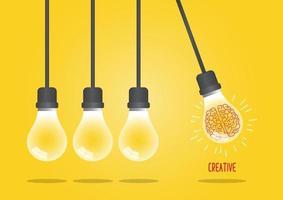 Newton's cradle light bulb concept vector