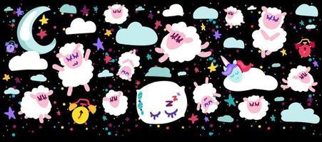 Sleeping sheep vector illustrations set