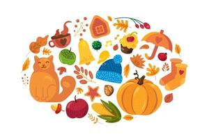 Cartoon autumn background, fall symbols on white vector