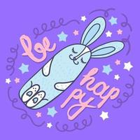 Be happy doodle card template with hand drawn lettering vector