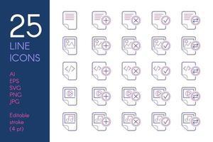 documentos y archivos conjunto de iconos lineales de color vector