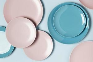 Flat lay composition of different colored plates photo