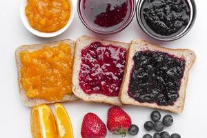 Flat lay delicious jam bread photo