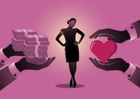 Businesswoman choosing between love and money vector