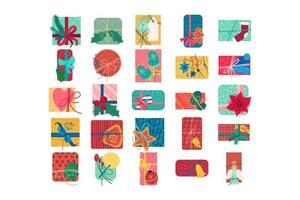 Colorful christmas present boxes flat vector illustration