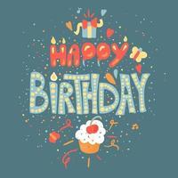 Happy Birthday hand drawn color lettering vector