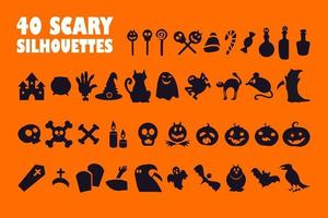 Halloween black glyph icons set on white space vector