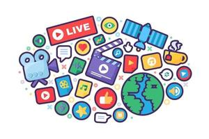 Live stream producing concept icon vector